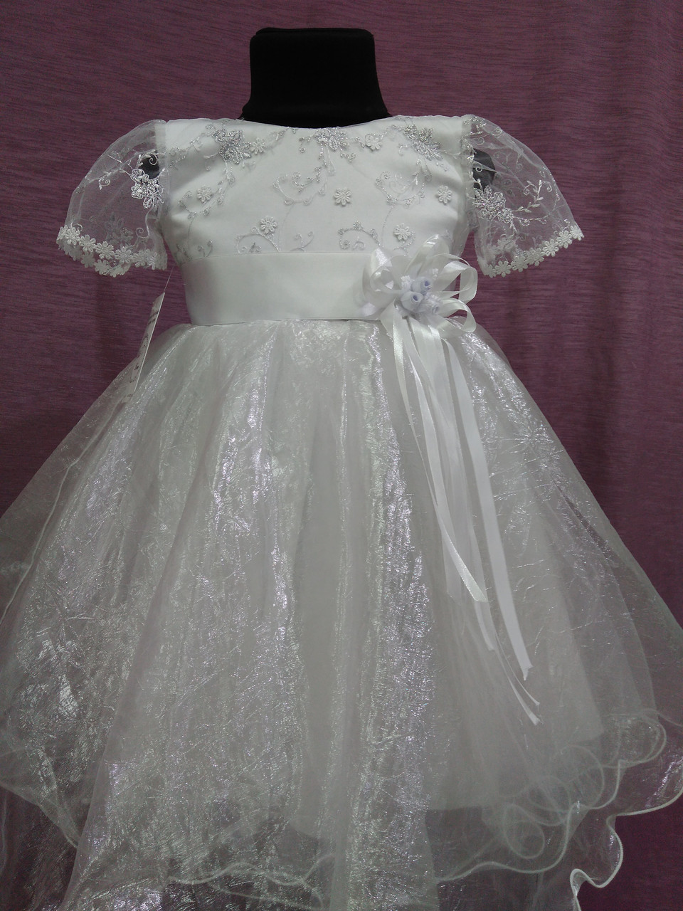 Детское платье нарядное на 3-5 лет белое с серебряным
