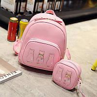 Рюкзак для девочек, девушек Три кота из эко кожи (розовый), фото 1
