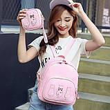 Рюкзак для дівчаток, дівчат Три кота з еко шкіри (рожевий), фото 2