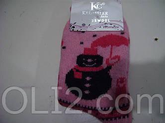 Женские махровые носки шерстяные снеговик
