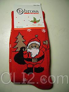 Женские теплые новогодние носки BROSS Дед мороз