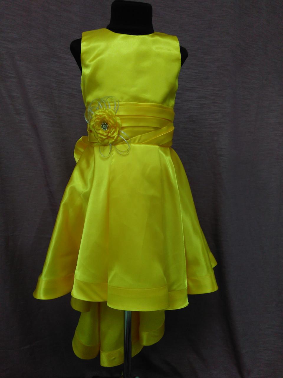 Платье детское нарядное с каскадной юбкой на 6-8 лет желтое