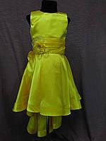 Платье детское нарядное с каскадной юбкой на 6-8 лет желтое, фото 1
