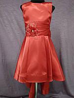 Платье детское нарядное с каскадной юбкой на 6-8 лет красное