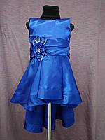 Платье детское нарядное с каскадной юбкой на 3-5 лет синее, фото 1