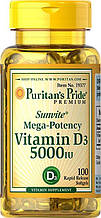 Витамин д3, Puritan's Pride Vitamin D3 5000 IU 100 Softgels