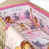Защита бампер в детскую кроватку  из двух частей Африка розовый