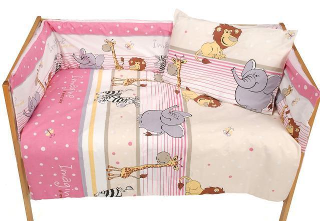 Комплект постельного белья в детскую кроватку Африка розовый  из 3-х элементов