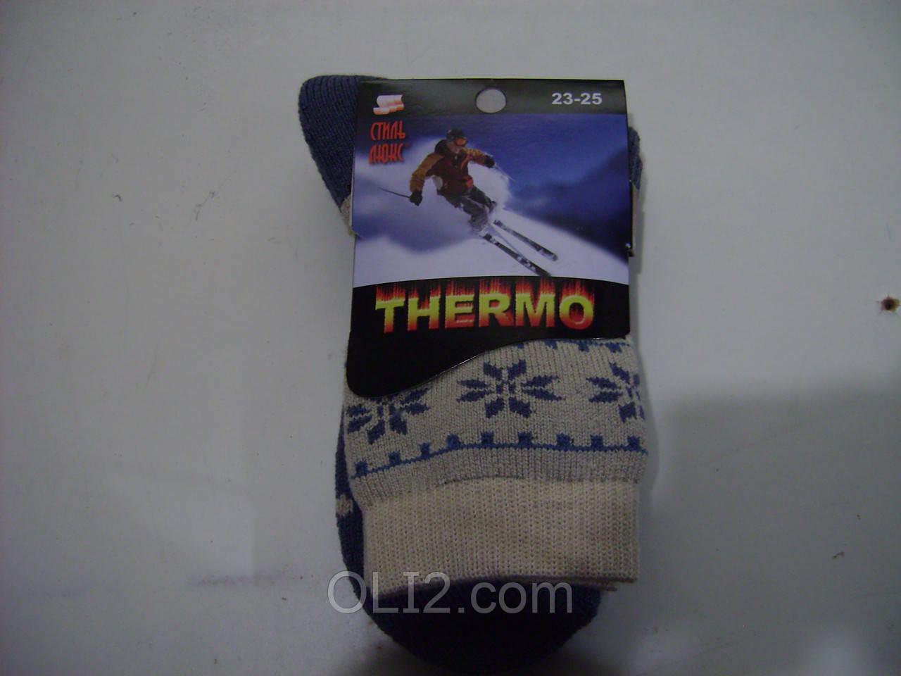 Женские махровые носки шерстяные олени
