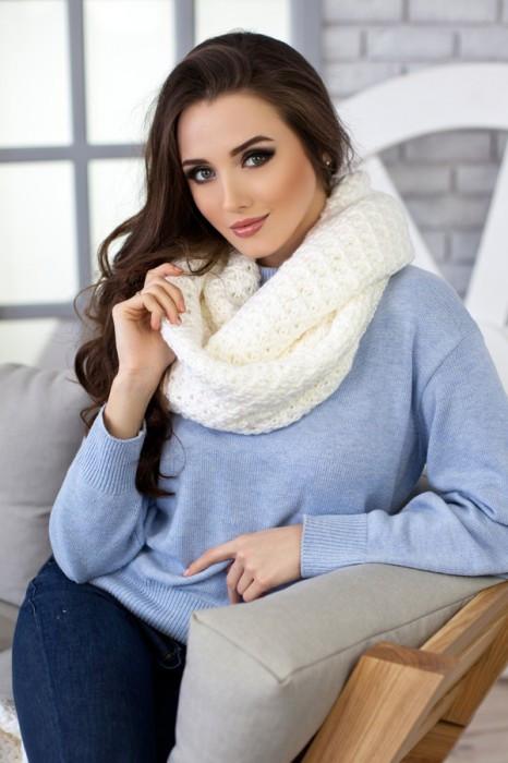 Зимний женский Снуд «Денвер» Белый