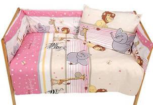 Набор постельного белья в детскую кроватку из 4 предметов Африка розовый