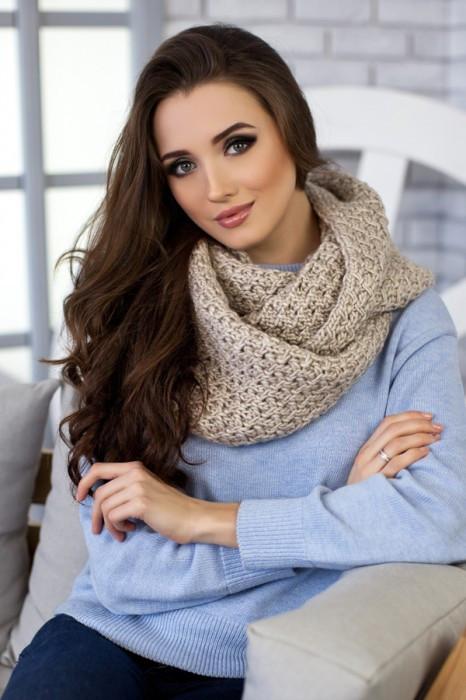 Зимний женский Снуд «Денвер» Светлый кофе