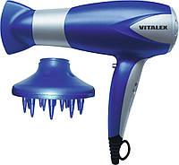 Электрический фен для волос Vitalex VT-4002 синий, сушка для волос, фен для дома, фен электрический