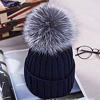 Женская стильная шапка с бубоном из чернобурки (6 цветов), фото 1
