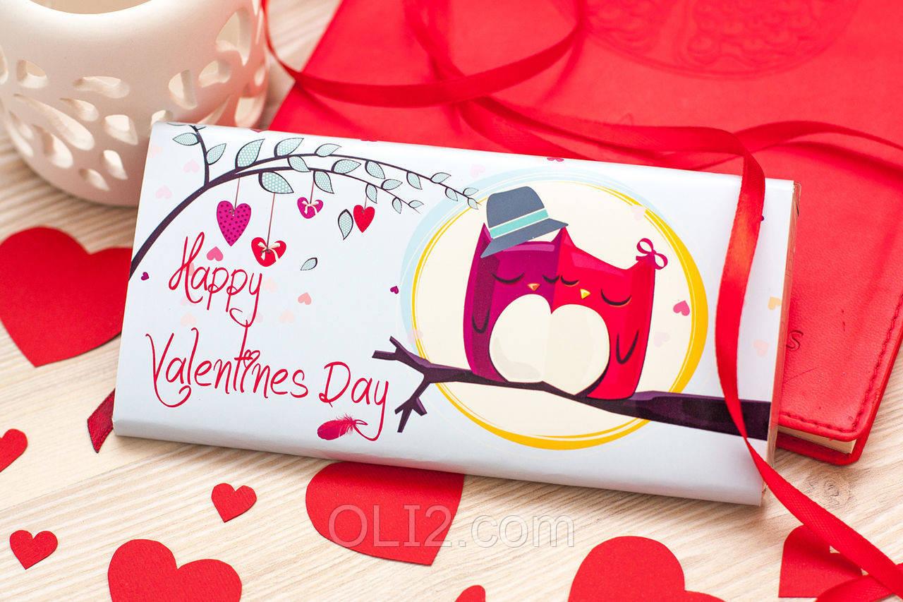 "Шоколадка шоколадная плитка на подарок ПЛИТКА ""HAPPY VALENTINS DAY"" ПТИЧКИ"