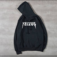 Худи Yeezus  черное с логотипом, унисекс (мужское,женское,детское)