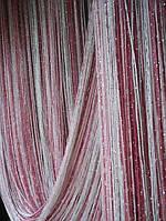 Шторы кисея Радуга Дождь (белый+розовый+фрезовый)