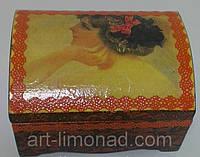 Шкатулка деревянная Девушка с бантиком