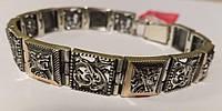 Браслет мужской серебряный с золотыми пластинами и ликом святого Георгия Победоносца