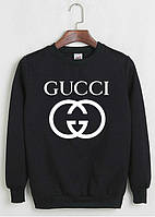 Свитшот Gucci черный с белым логотипом, унисекс (мужской,женский,детский)