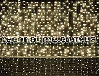 3м х 3м Гирлянда Водопад 960 LED, Соединяемая, Очень густая (штора, занавес, curtain light) Теплый белый