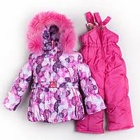 Детские зимние термо комбинезоны для девочек р.86-110 до -20 мороза на наши зимы малиновый шары