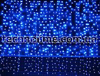 3м х 3м Гирлянда Водопад 960 LED, Соединяемая, Очень густая (штора, занавес, curtain light) Синий