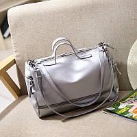Дефект. Женская сумка круглая с ручками серебро
