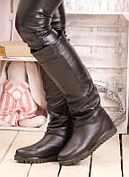 Сапоги женские зимние черные кожаные с шерстяной подкладкой высота до колена на плоской подошве