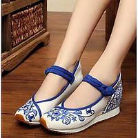 Для женщин На плокой подошве Удобная обувь Ткань Весна Повседневные Удобная обувь Белый Синий На плоской подошве 05960723