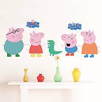 """Интерьерная виниловая наклейка на стену для детей """"Свинка Пеппа"""" (Peppa Pig)"""