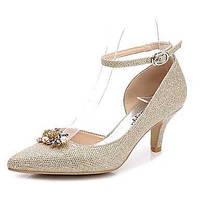 Для женщин Обувь Лак Весна Осень Туфли лодочки С ремешком на лодыжке Свадебная обувь На конусовидном каблуке Заостренный носок Стразы 06222115