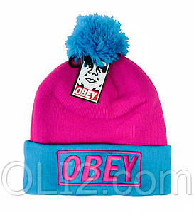 шапка OBEY с бубоном шерстяная