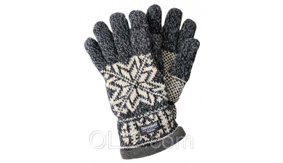 Перчатки вязанные утепленные unisex Grace Thinsulate 40 gram, black white, р.S/M