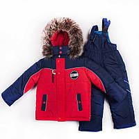 Детские зимние термо комбинезоны для мальчиков р.86-110 до -20 мороза на наши зимы красный с синей планкой
