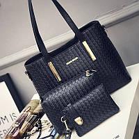 Женская сумка набор 3в1 + мини сумочка и клатч черный, фото 1