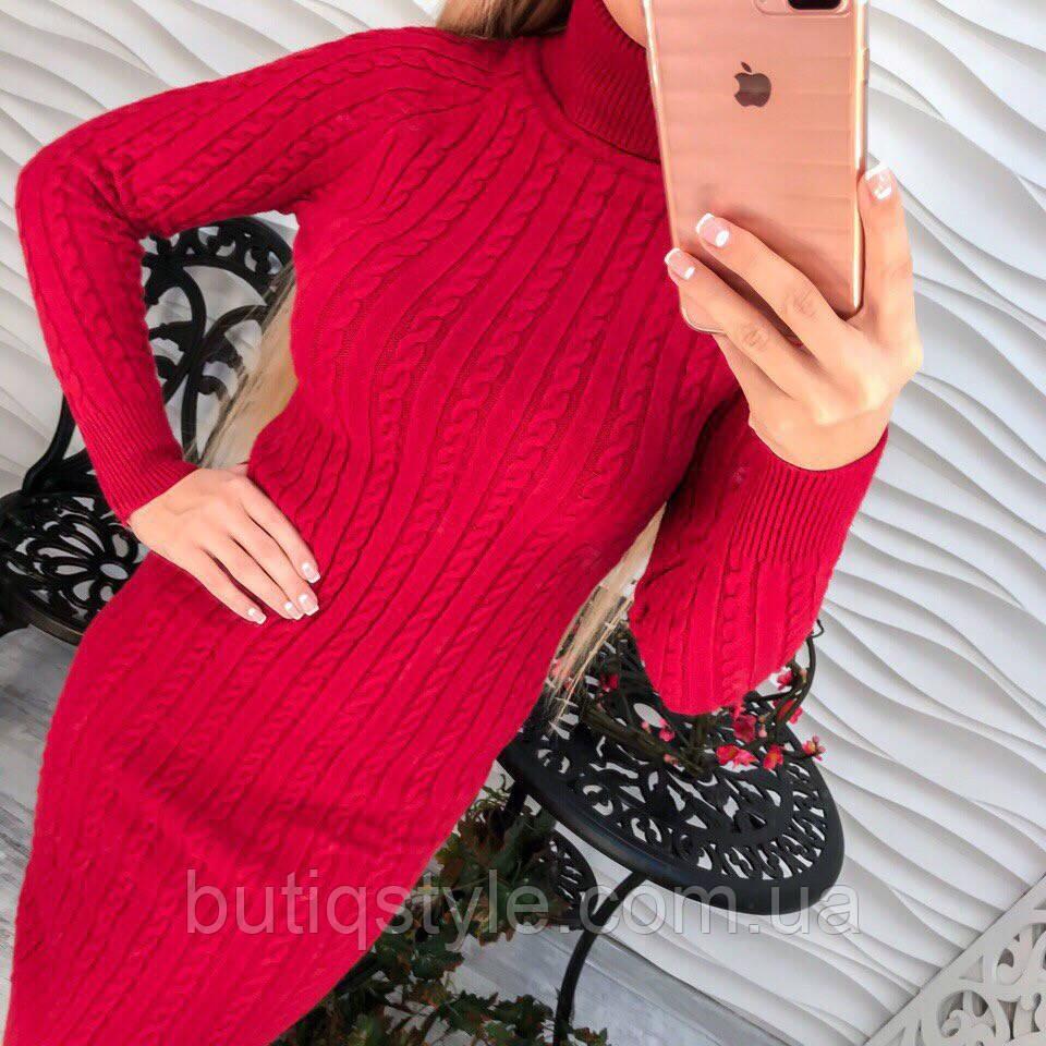 Красивое платье под горло машинная вязка розовое