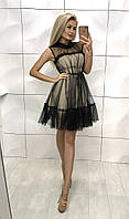 Женское двойное платье с сеткой