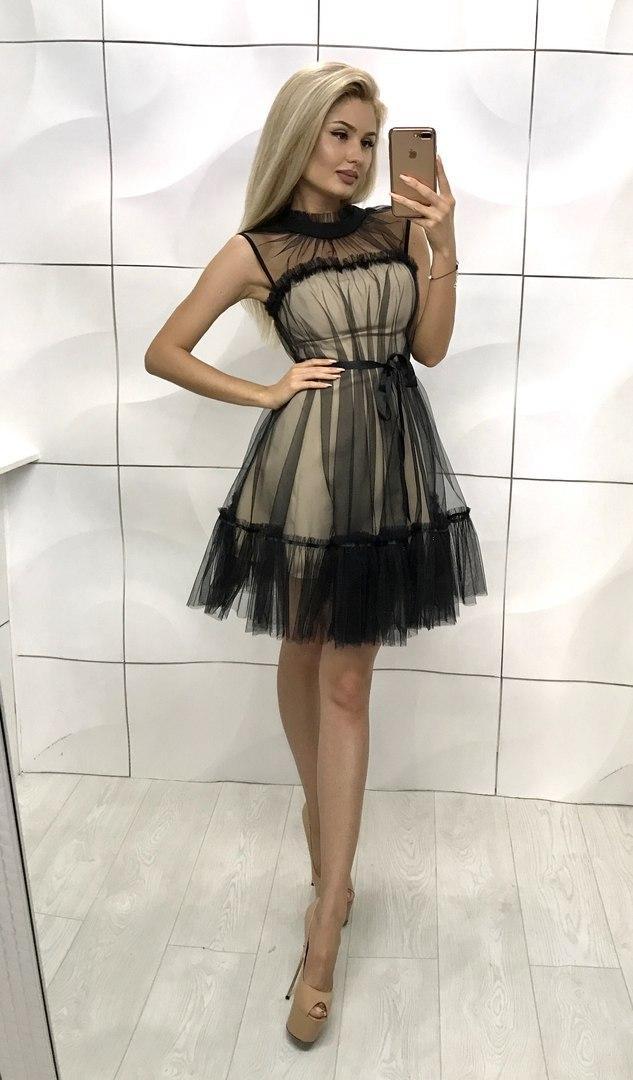 d365eb0e661 Женское двойное платье с сеткой - Интернет-магазин
