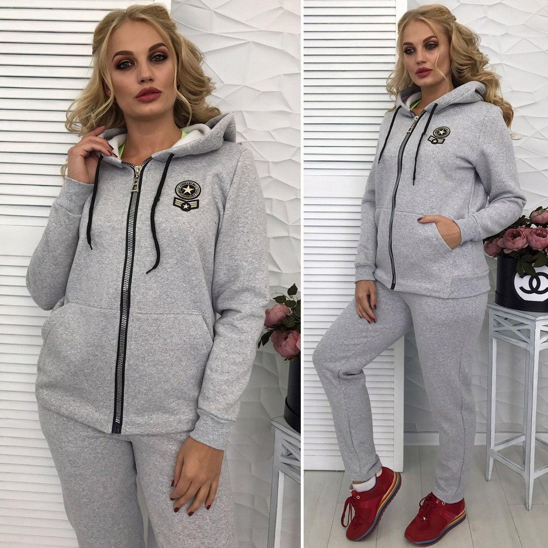 ccf6f53a1f93 Женский спортивный костюм теплый на флисе зимний размеры 50-56 - Lider -  интернет магазин
