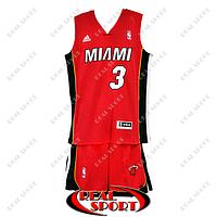Баскетбольная форма НБА Майами Хит, Дуэйн Уэйд №3, красная, фото 1