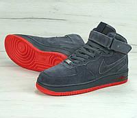 Кроссовки Nike Air Force 1 Hi Suede Grey/Gum (C мехом) мужские
