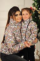 Демисезонная детская цветастая непромокаемая курточка с косой молнией, серия мама и дочка