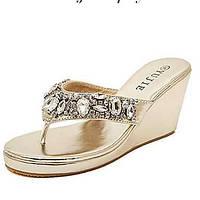 Серебристый / Золотистый - Женская обувь - Для праздника / На каждый день - Лакированная кожа - На танкетке - Шлепанцы - Тапочки 03211442