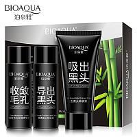 Набор Черная маска для лица 3 в 1 от чёрных точек и прыщей BIOAQUA Activated Carbon