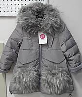Зимнее детское теплое на меху пальто на девочку ТМ Glo-story Венгрия. 3-5 лет