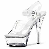 Для женщин Сандалии Прозрачный обуви ПВХ Лето Для вечеринки / ужина Кристаллы На шпильке Серебряный Прозрачный Более 12 см 06130682