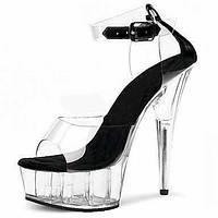 Для женщин Сандалии Формальная обувь ПВХ Лето Для вечеринки / ужина Для праздника Кристаллы Пряжки На шпильке Белый Черный КрасныйБолее 06153117