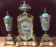 Часы каминные Англия  19 век бронза