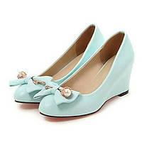 Для женщин Обувь Полиуретан Весна Осень Удобная обувь Оригинальная обувь Обувь на каблуках На танкетке Заостренный носок Бант Заклепки 06242358